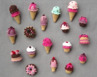 Amigurumi sweets - Crochet brooches - Ice Cream, Cupcake, Donut, Cake - Fake Food - Choose one - Made to order