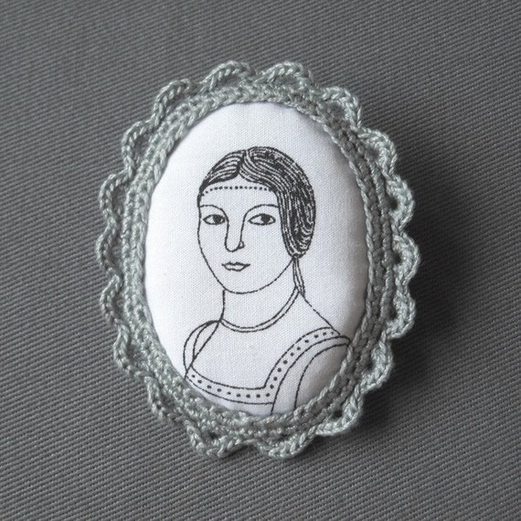 Crochet Lace and Fabric Brooch - Renaissance Portrait Fiber Cameo - Last one