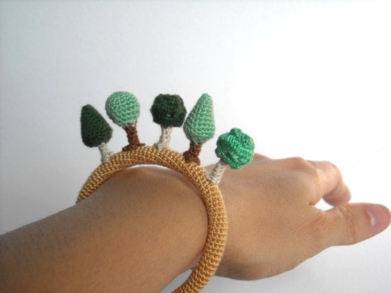 Forest Crochet Bracelet - Eco Friendly Bangle with Trees - Nature Inspired Jewelry - Made to order