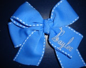 Embroidered Hair Bow in Blue