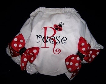 Ladybug Diaper Cover Personalized with Child's Name Embroidered