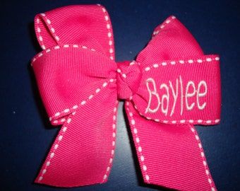 Personalized Monogrammed Hair Bow in Hot Pink