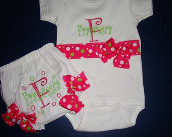 Baby Gift Personalized Onesie and Diaper Cover Hot Pink and Lime Green