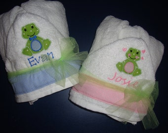 Personalized Hooded towel GIRL or BOY FROG Infant and Children's Custom Embroidered and Appliqued