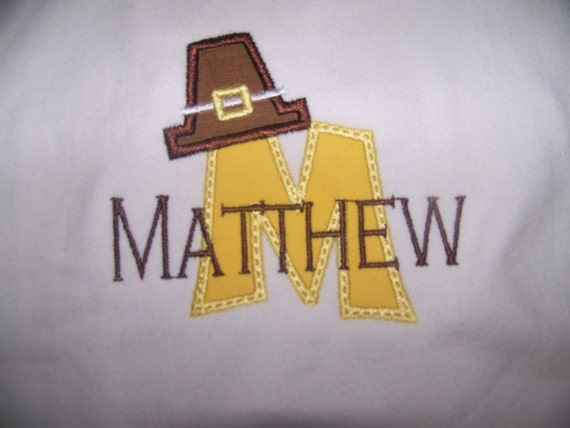 Personalized Appliqued/Embroidered Long Sleeve Bodysuit or T-Shirt for Thanksgiving