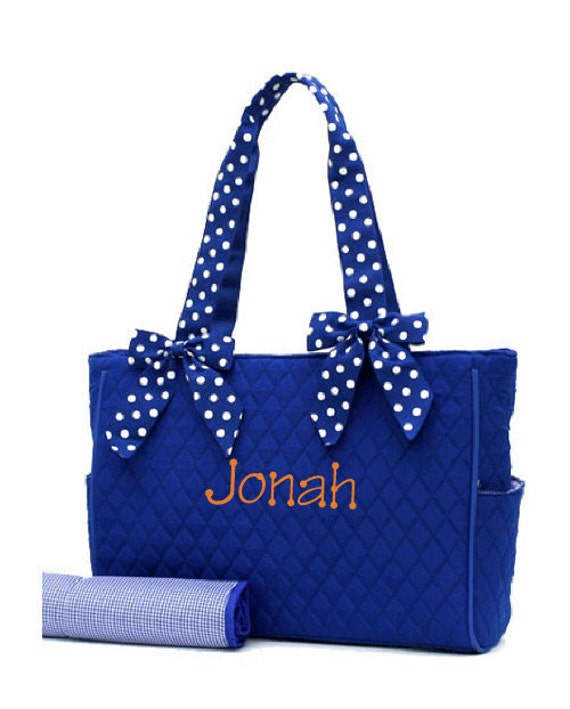 Royal blue and white polka dot diaper bag for baby girls and boys ...