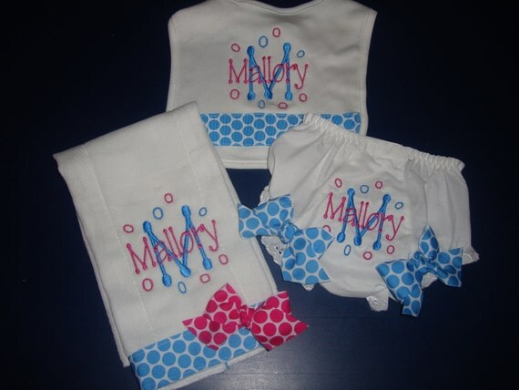 Personalized Baby Gift Set, Diaper Cover, Bib, and Burp/Bloomer, Bib, and Burp Cloth Set, New Baby Gift, Baby Girl Gift