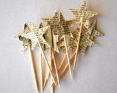 Star Cupcake Picks, made from vintage book paper