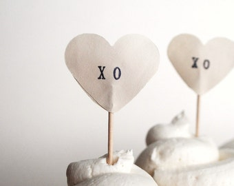 XO Heart Cupcake Picks, 12 hand stamped toppers - the ORIGINAL handstamped hearts in vintage, red, pink or white paper