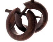 Wood Earrings - Small Brown Hoops - Post Earrings ,comes with extra posts