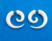 Fake Gauges, Handmade, Bone Earrings, Cheaters, Organic, Plugs, Split, Tribal Style - Small Spirals Bone