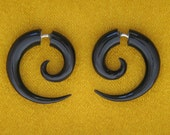 Fake Gauges, Fake Plugs, Handmade Horn Earrings, Tribal Style - Small Spirals Horn