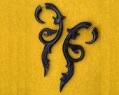 Fake Gauges, Fake Plugs, Handmade Horn Earrings, Tribal Style - Floral Vine