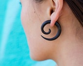 Fake Gauges, Fake Plugs, Gypsy, Handmade Wood Earrings, Tribal Style - Large Spirals Ironwood