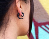 Fake Gauges, Handmade, Horn Earrings, Cheaters, Organic, Plugs, Split, Tribal Style - Small Spirals Horn