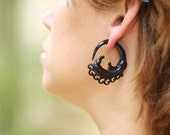 Fake Gauges, Handmade, Horn Earrings, Cheaters, Organic, Plugs, Split, Tribal Style - Empress Curls Horn