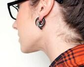 Fake Gauges, Handmade, Wood Earrings, Cheaters, Organic, Plugs, Split, Tribal Style - Fiaha Spirals wood