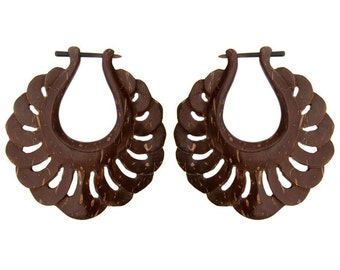 Harmony Hoops, Wood Stick  - Coconut Post Earrings