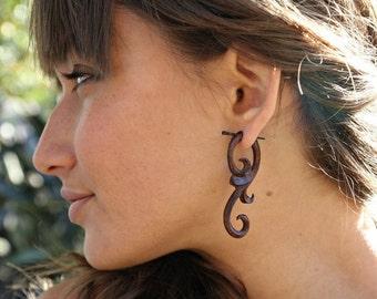 Ma'ayan Curls Brown- Organic Wood Post Earrings, Tribalstyle, Fake Gauges -  1