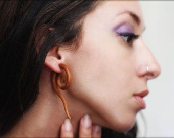 Fake Gauges, Handmade, Wood Earrings, Cheaters, Organic, Plugs, Split, Tribal Style - Sahlah Spirals Tan Wood