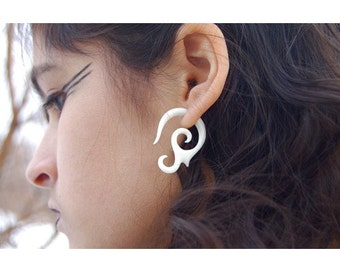 Hidden Gem Sale! Fake Gauges, Fake Plugs, Handmade Bone Earrings, Tribal Style - Organic Graceful Curls
