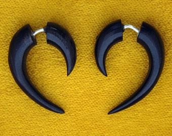 Fake Gauges, Fake Plugs, Handmade Earrings, Tribal Style - Small Black Hooks