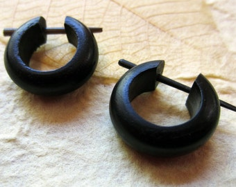 Wood Earrings - Small  Hoops - Post Earrings