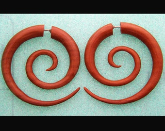 Beautiful Fake Gauges, Fake Plugs, Handmade Wood Earrings, Tribal Style  - Double Spirals Tan
