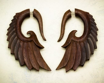 Fake Gauges, Fake Plugs, Handmade Wood Earrings, Tribal Style -  Nava Wings Brown Wood