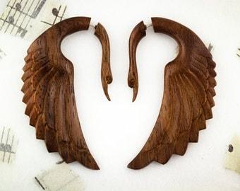 Fake Gauges, Handmade, Wood Earrings, Cheaters, Organic, Plugs, Split, Tribal Style - Fatima Swans Brown Wood