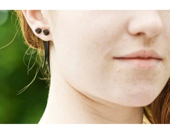 Fake Gauges, Wood Earrings, Organic, Split, Cheaters, Plugs, Tribal, Handmade Wooden Earrings - Med Ironwood Talons