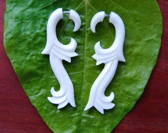 BIG SALE!  Fake Gauges, Fake Plugs, Handmade Bone Earrings, Tribal Style - Healing Wave Bone