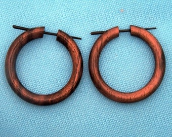 NEW - Wooden Post Earrings - Small Brown Hoops 1