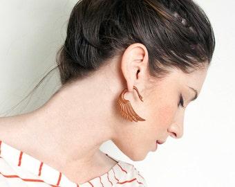 Fake Gauges, Handmade, Wood Earrings, Cheaters, Organic, Plugs, Split, Tribal Style - Fatima Swans Tan Wood