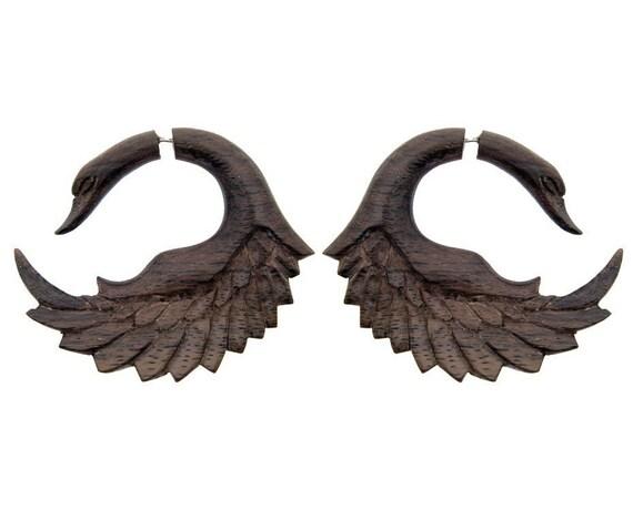 Killer Sale! Fake Gauges, Handmade, Wood Earrings, Cheaters, Organic, Plugs, Split, Tribal Style - Sankofa Wings Brown Wood