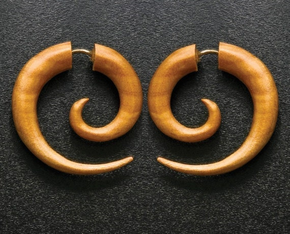 Fake Gauges, Handmade, Wood Earrings, Cheaters, Organic, Plugs, Split, Tribal Style - Small Spirals Tan Wood