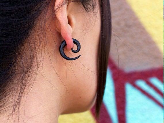 Fake Gauges, Handmade, Horn Earrings, Cheaters, Organic, Plugs, Split, Tribal Style - Small Spirals Horn