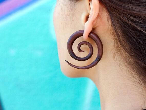 Fake Gauges, Fake Plugs, Handmade Wood Earrings, Tribal Style - Double Spirals Brown