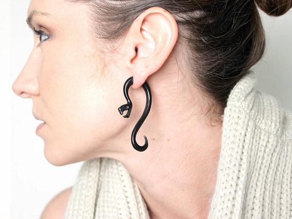 Fake Gauges, Handmade, Horn Earrings, Cheaters, Organic, Plugs, Split, Tribal Style - Serpent Curls Horn