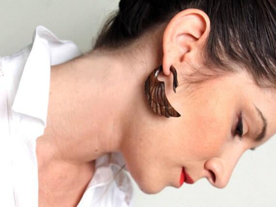SALE - Fake Gauges, Fake Plugs, Handmade Wood Earrings, Tribal Style - Fatima Swans Brown