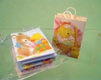 Miniature Easter Gift Bags Bunny Chicks Dollhouse Craft