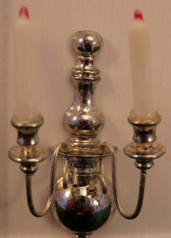 Dollhouse Candle Wall Sconce Silver