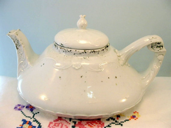 Victorian Childs Toy Teapot White Porcelain Antique