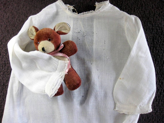 Antique Baby Nightgown Child Dress 1900 White Cotton