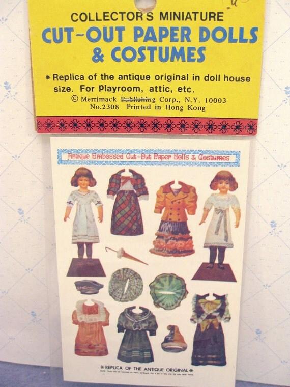 Miniature Dollhouse Paper Dolls Antique Replica NOS