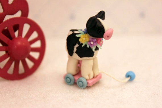 Reserved for Becky Miniature Cow Pull Toy Dollhouse Nursery Playroom