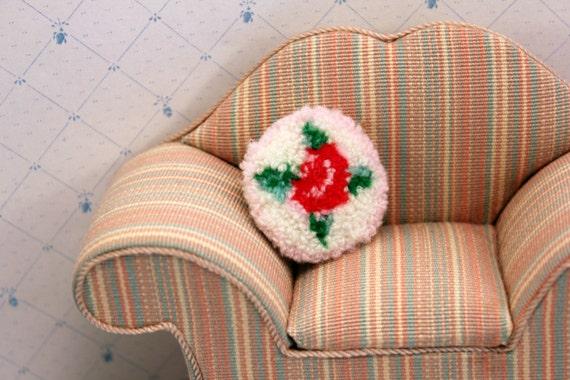 Miniature Floral Rose Pillow Dollhouse Linen Handmade