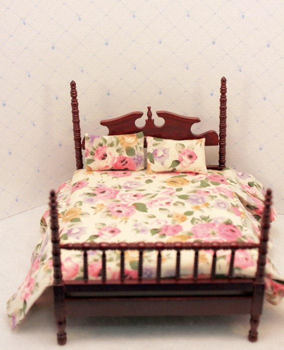 Dollhouse Bed 4 Poster Spindle Pink Floral By