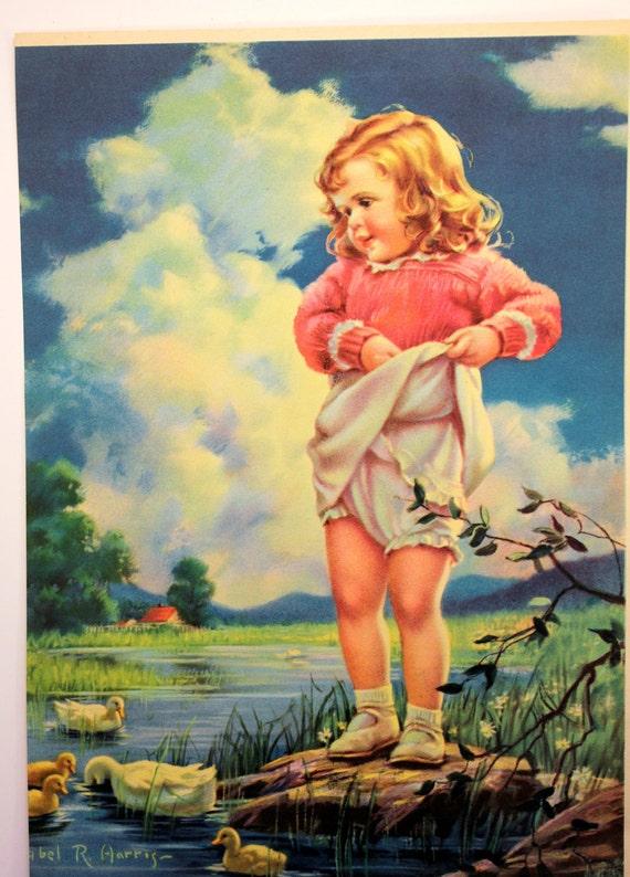 Vintage Mabel R Harris Calendar Print Feeding The Ducks