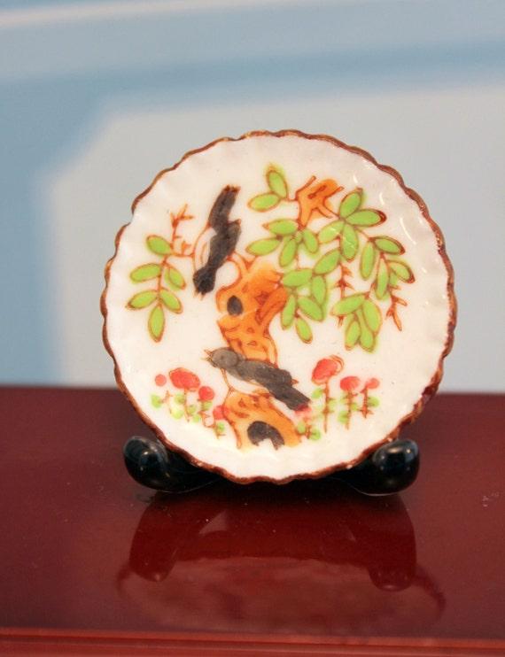 Miniature Decorative Plate Asian Scene Dollhouse Decor